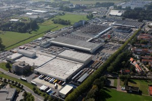 Aerial view on the Atlas Copco Product Company Antwerp premises in Belgium. Airpower NV.